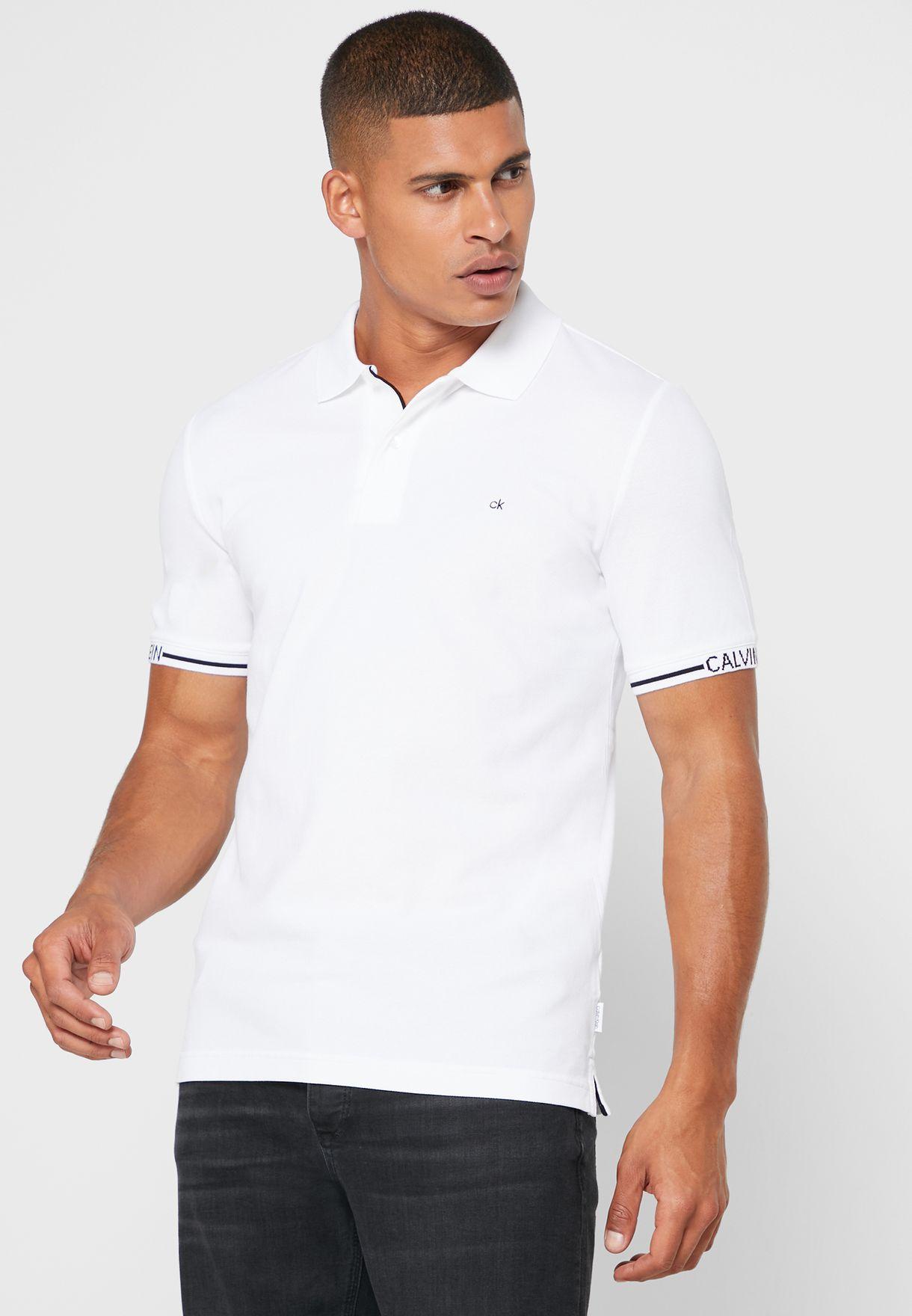 Logo Cuff Slim Fit Polo