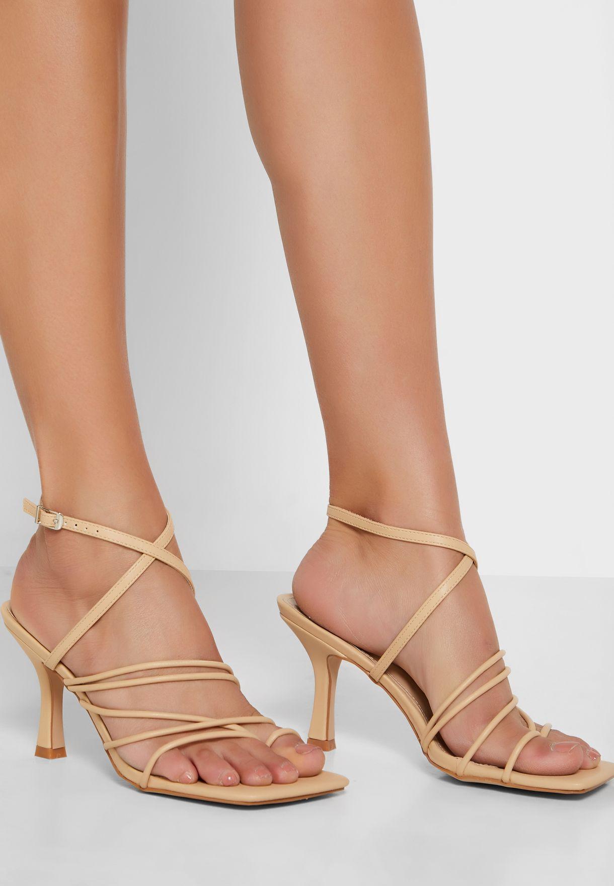 Multi-Strap Square Toe Stiletto Heel Sandal