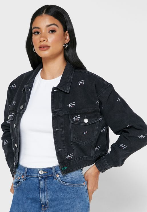Crop Printed Denim Jacket