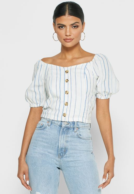 Puffed Sleeve Button Down Top