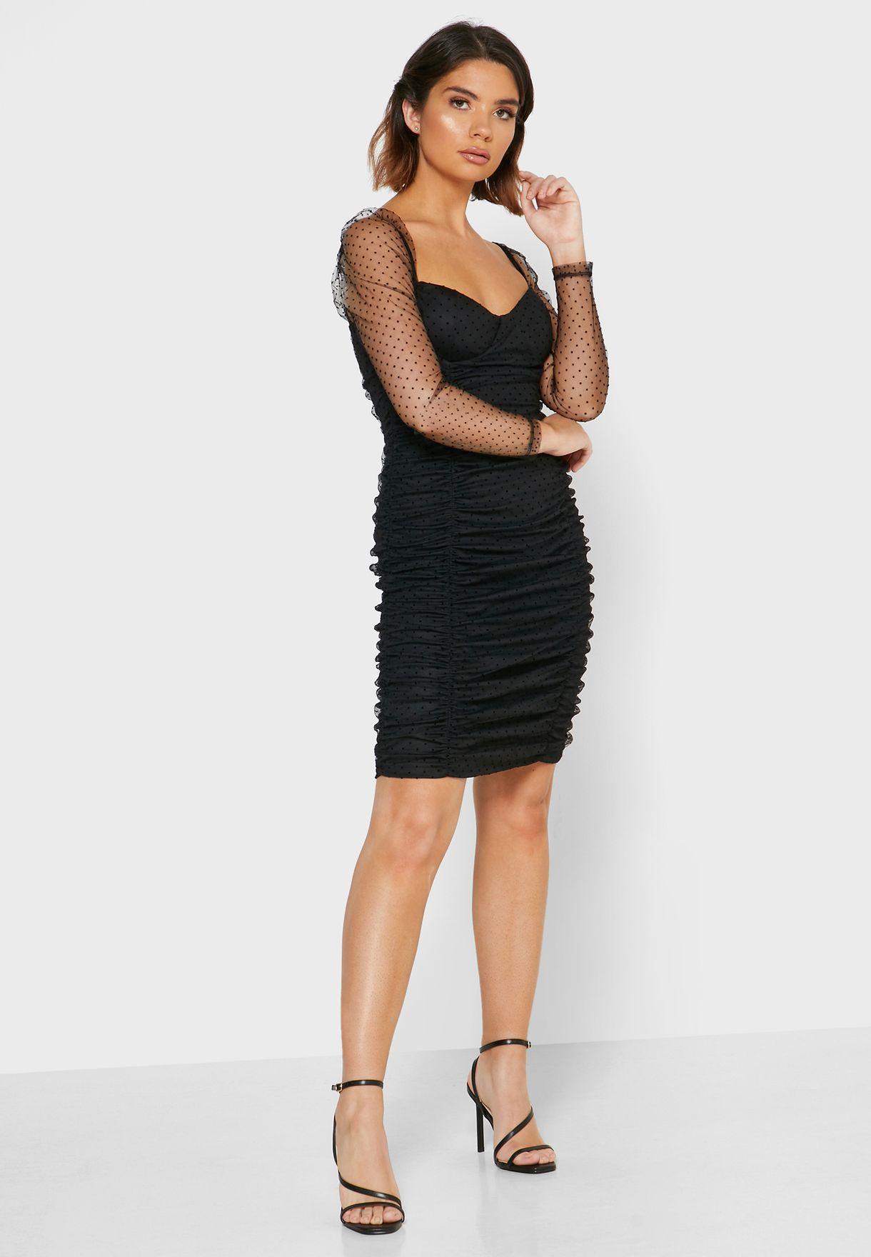Dotted Mesh Sleeve Mini Dress