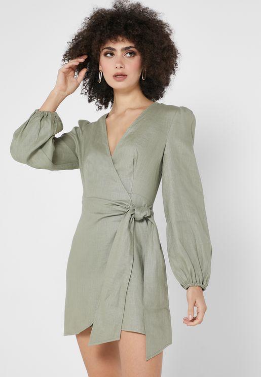 Sasha Side Twisted Wrap Dress