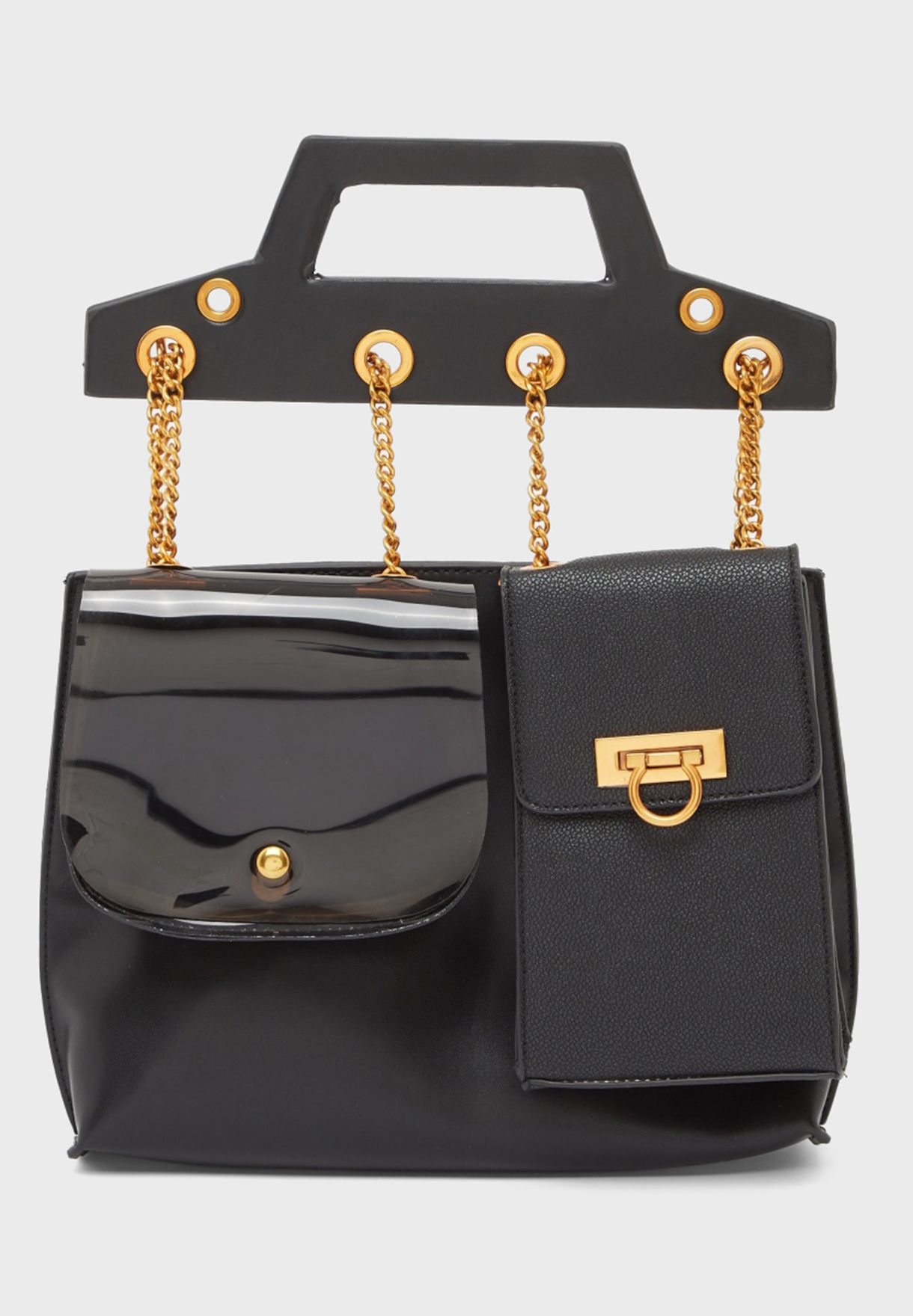 Chain Detail Flap Backpack