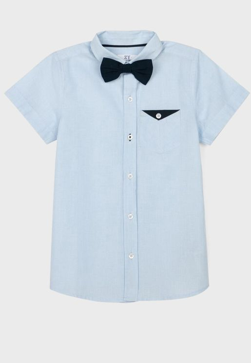 Kids Contrast Pocket Shirt With Bow Tie