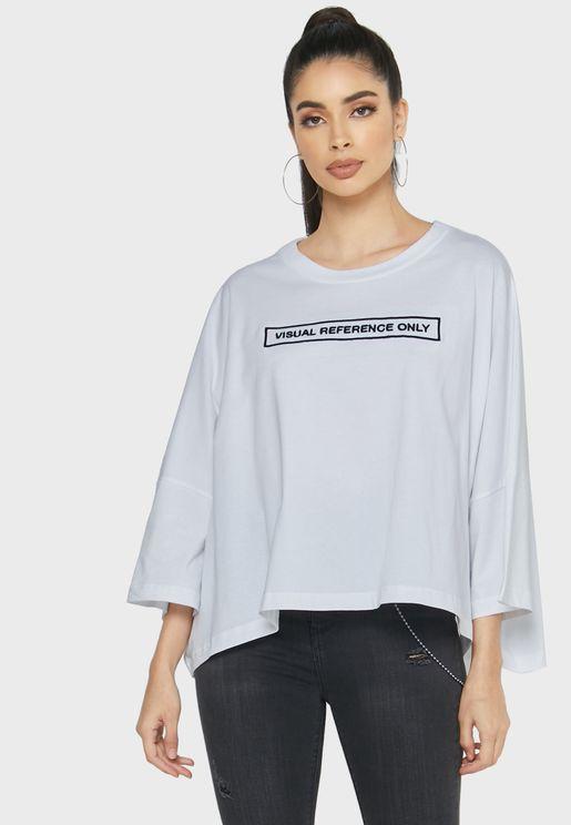 Cramble Slogan High Low T-Shirt