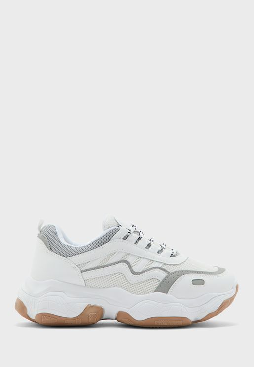 PU And Grey Detail Chunky Sneaker