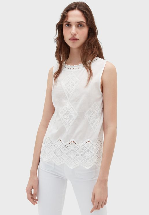 Lace Detail Knitted Tank Top