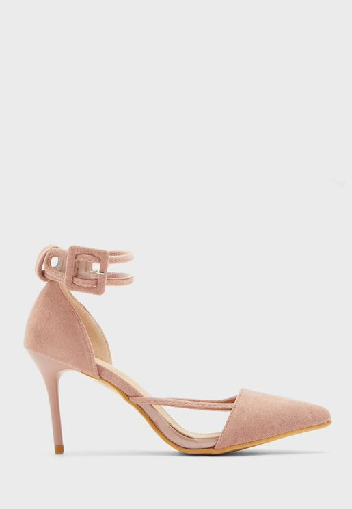Pointed Buckle Ankle Strap Stiletto With Clear Detail