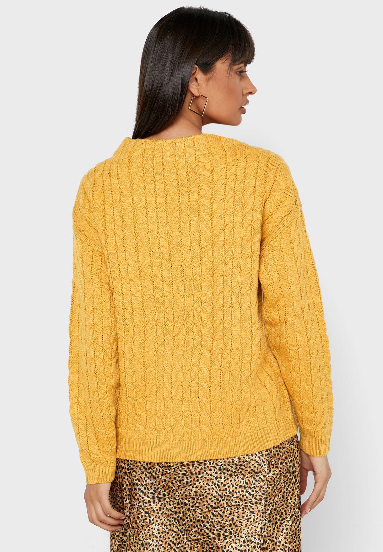 High Neck Embossed Crochet Sweater