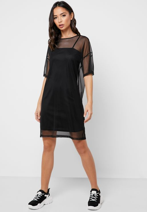 Mesh Overlay T-Shirt Dress