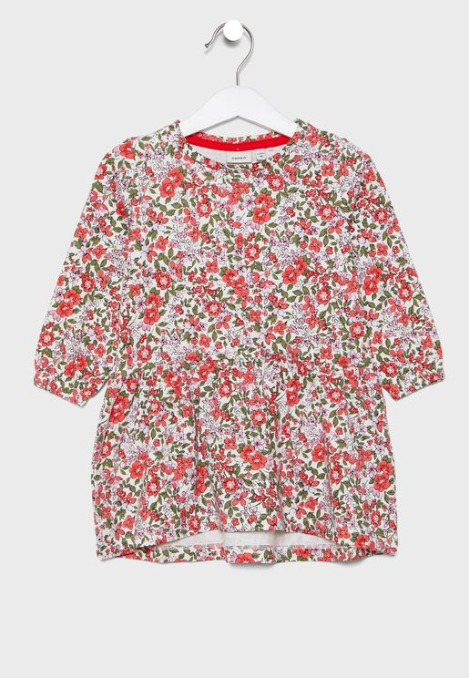 Kids Pleated Floral Dress
