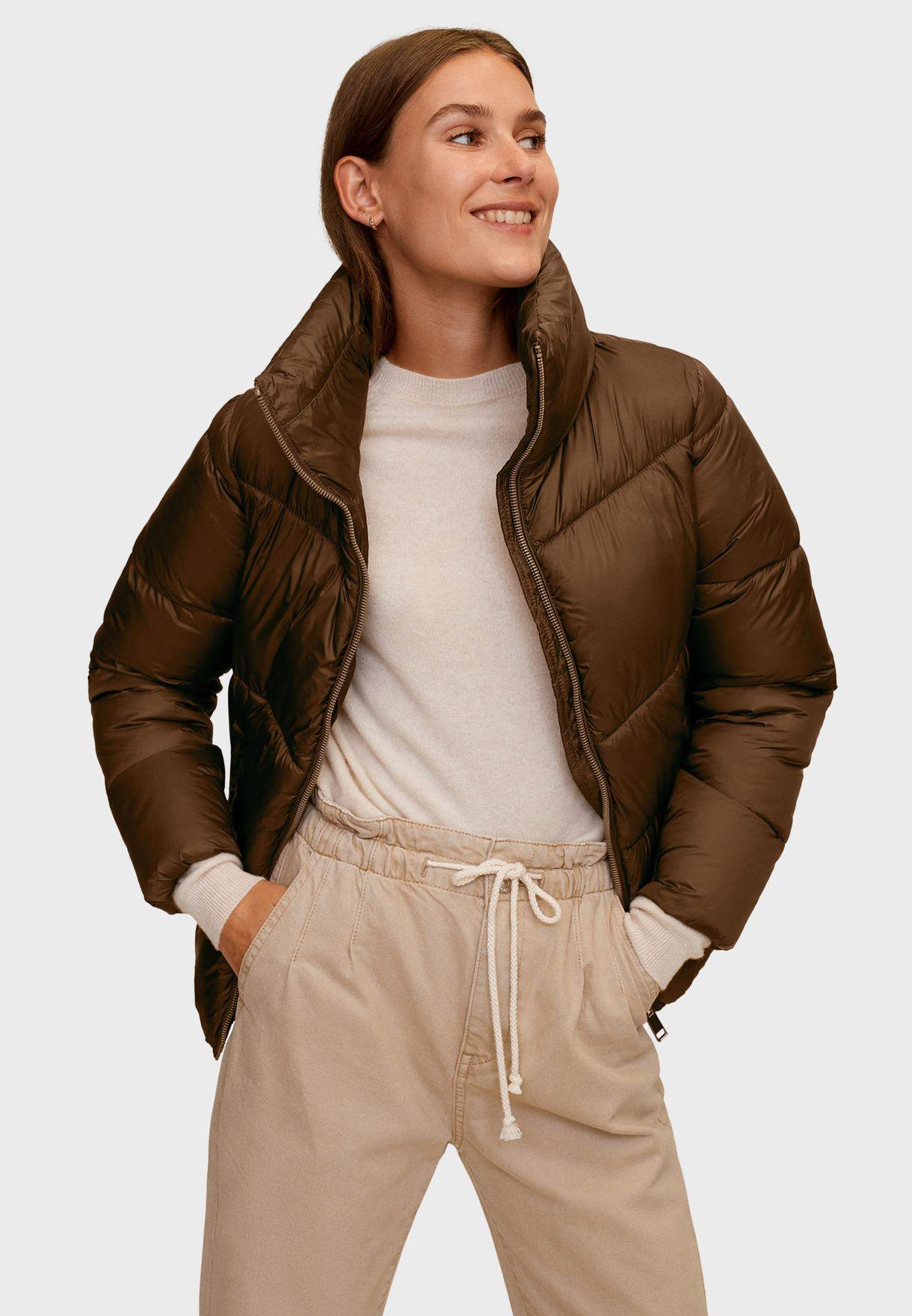 Buy Mango Brown Puffer Jacket For Women In Mena Worldwide 77075902