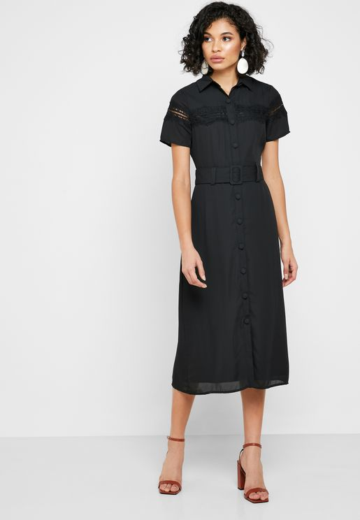Lace Trim Belted Shirt Dress