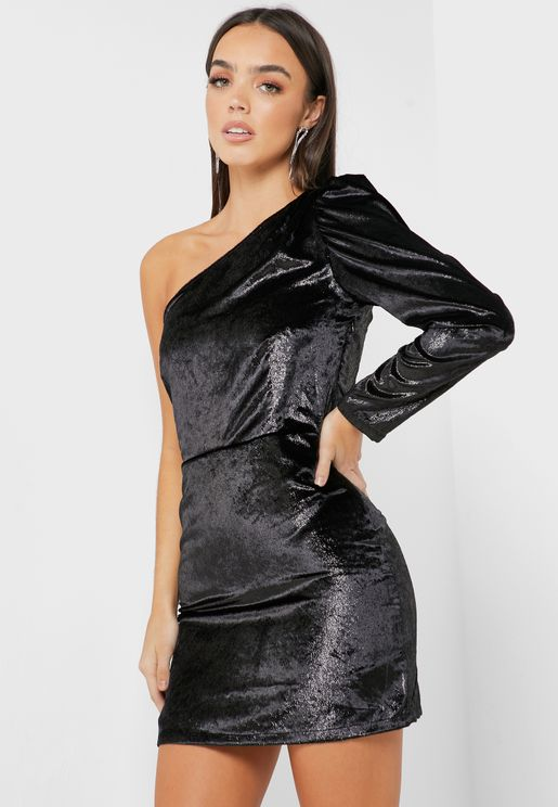 One Shoulder Shimmer Dress