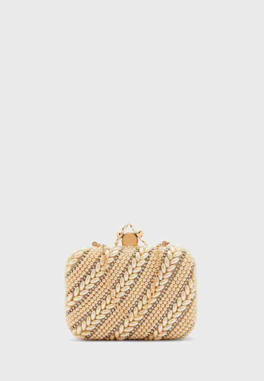 Boxy Pearl Design Clutch