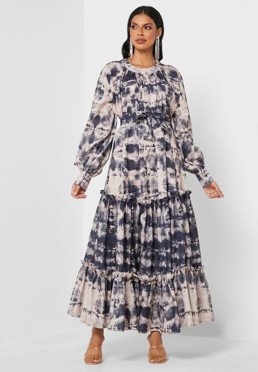 Round Neck Printed Dress