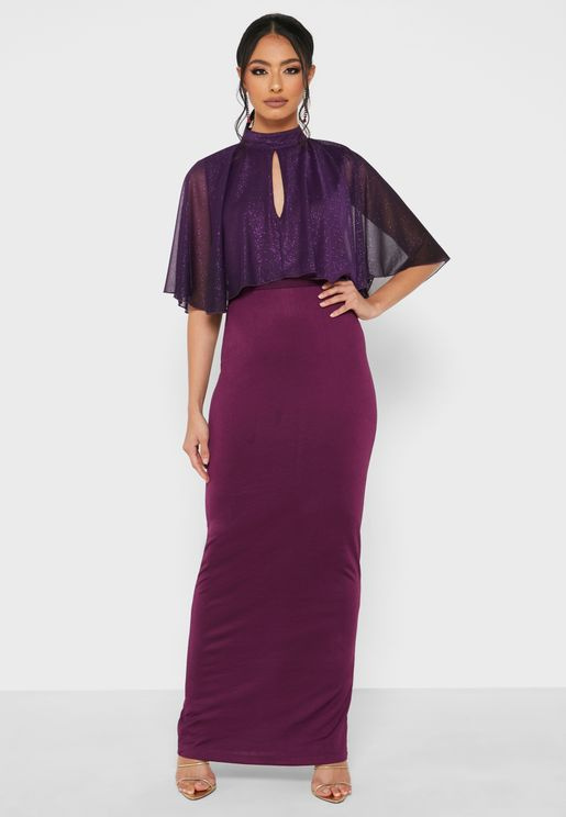 Shimmer Cape Belted Dress