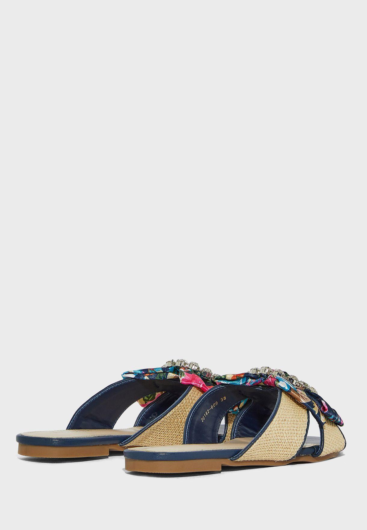 Diamante Scarf Bow Flat Sandals