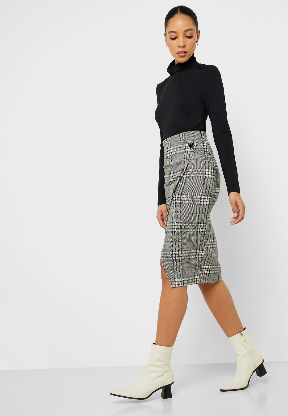 Button Down Checked Skirt