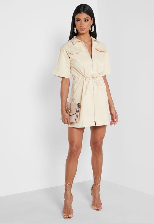 Zip Through Draw Cord Waist Mini Dress