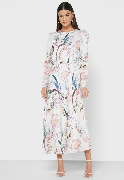 Edreana Puff Sleeve Printed Dress
