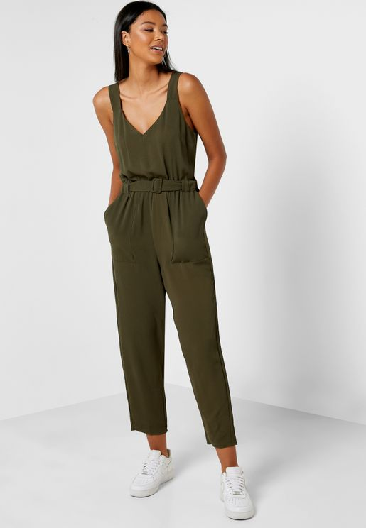 Woven Belted Jumpsuit