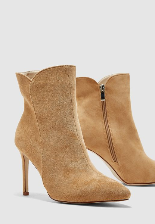 Heeled Ankle Boots In Faux Suede