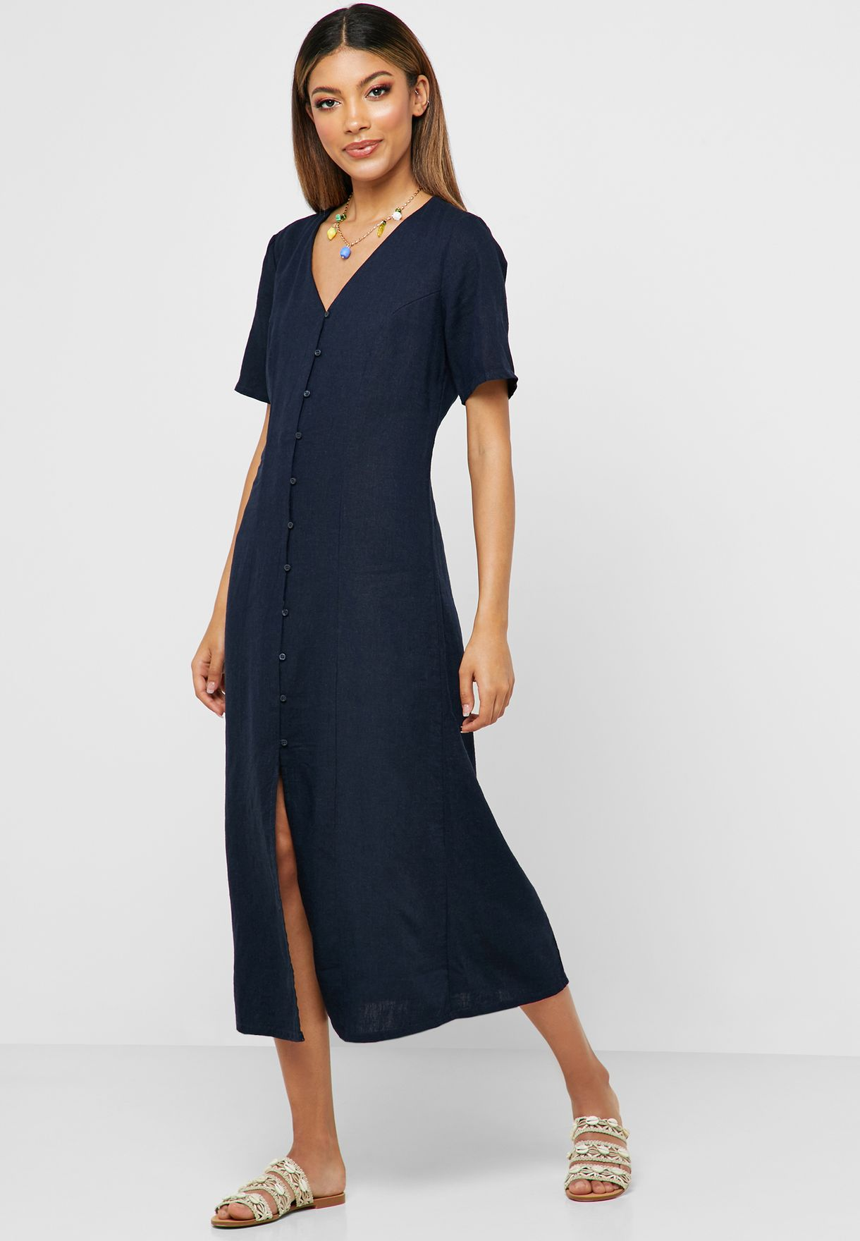 1704bc2f2bb Shop Jacqueline De Yong navy Button Down Short Sleeve Dress 15184592 for  Women in UAE - 16584AT94SOP