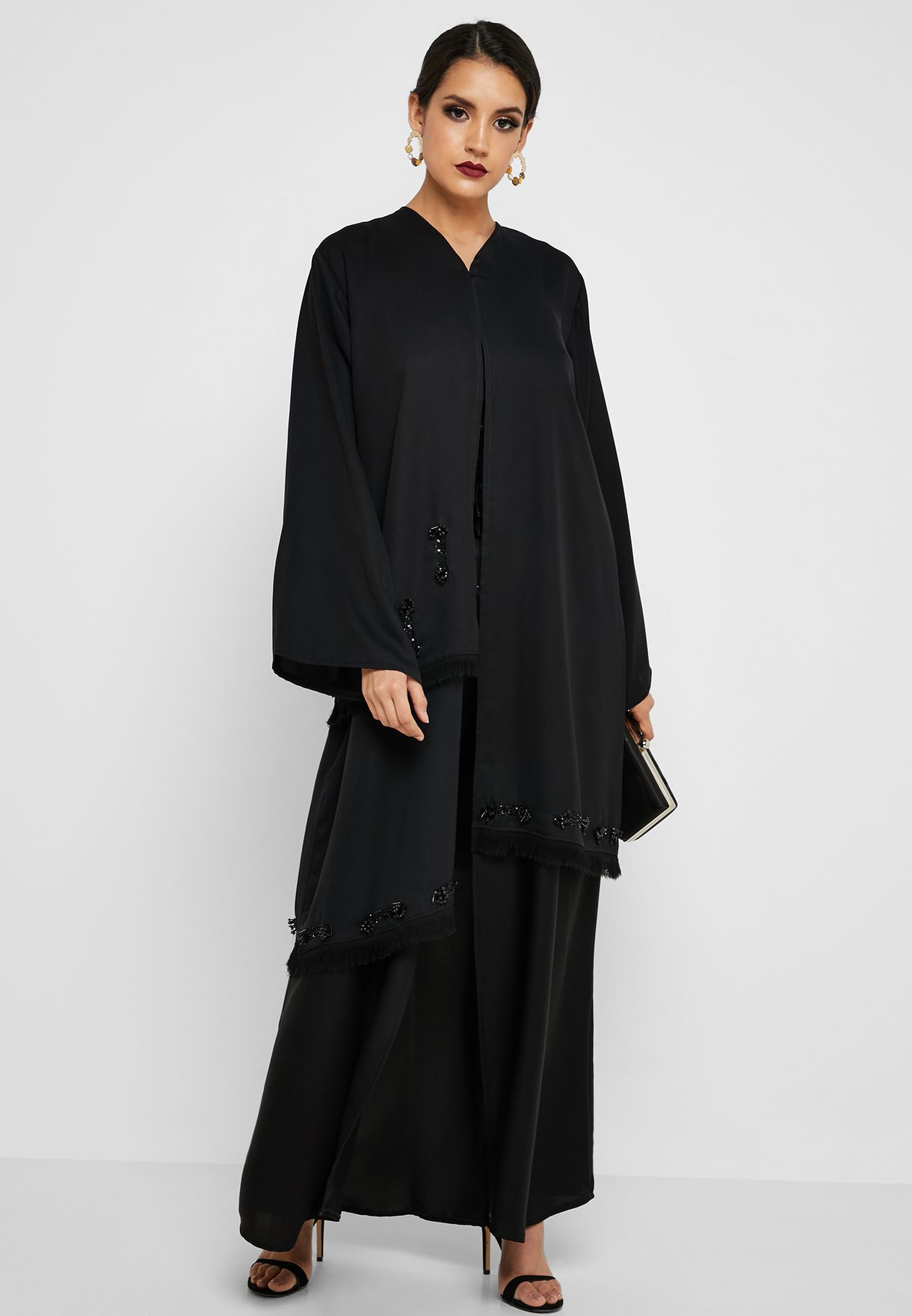 e1ed45a148f3cb Shop Hayas Closet black Fringe Detail Layered Abaya awn - 144 for ...