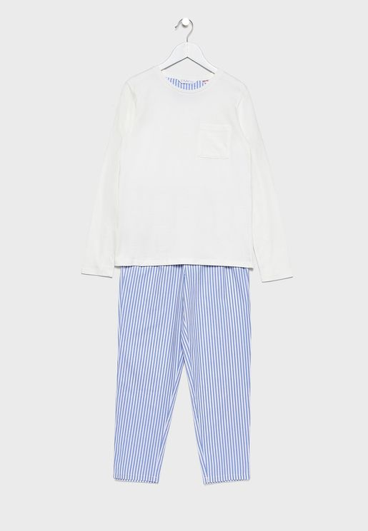 Kids Essential T-Shirt + Striped Pyjama Set