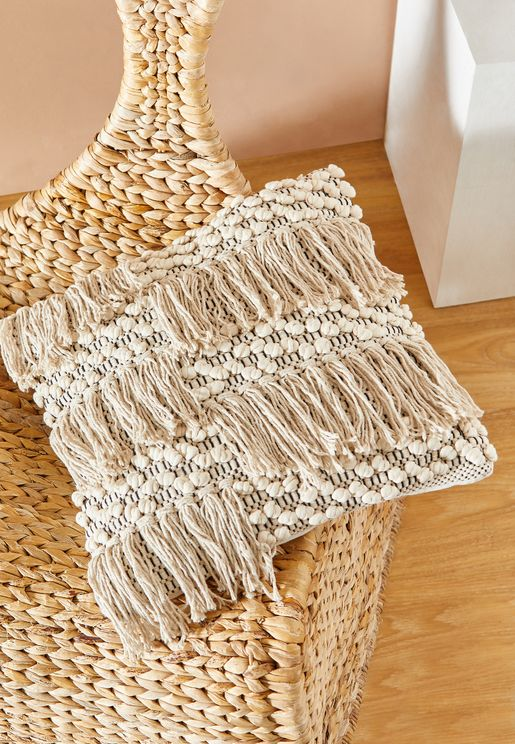 "Tassle Row Cushion - 16""X16"""