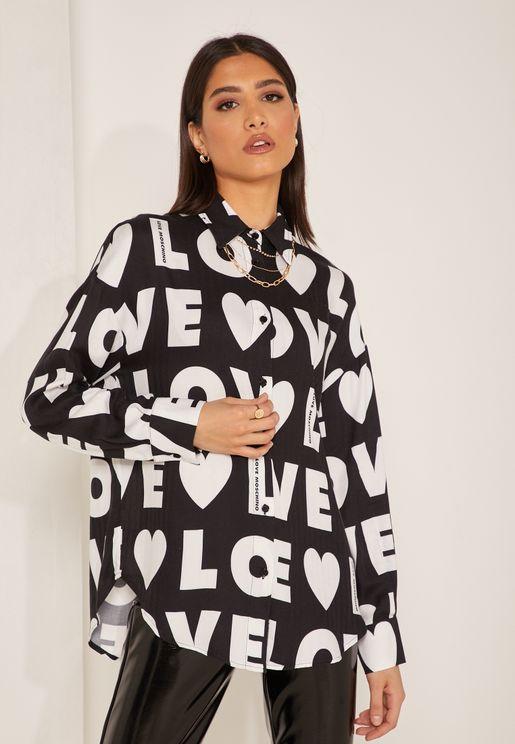 قميص مطبع باكمام طويلة