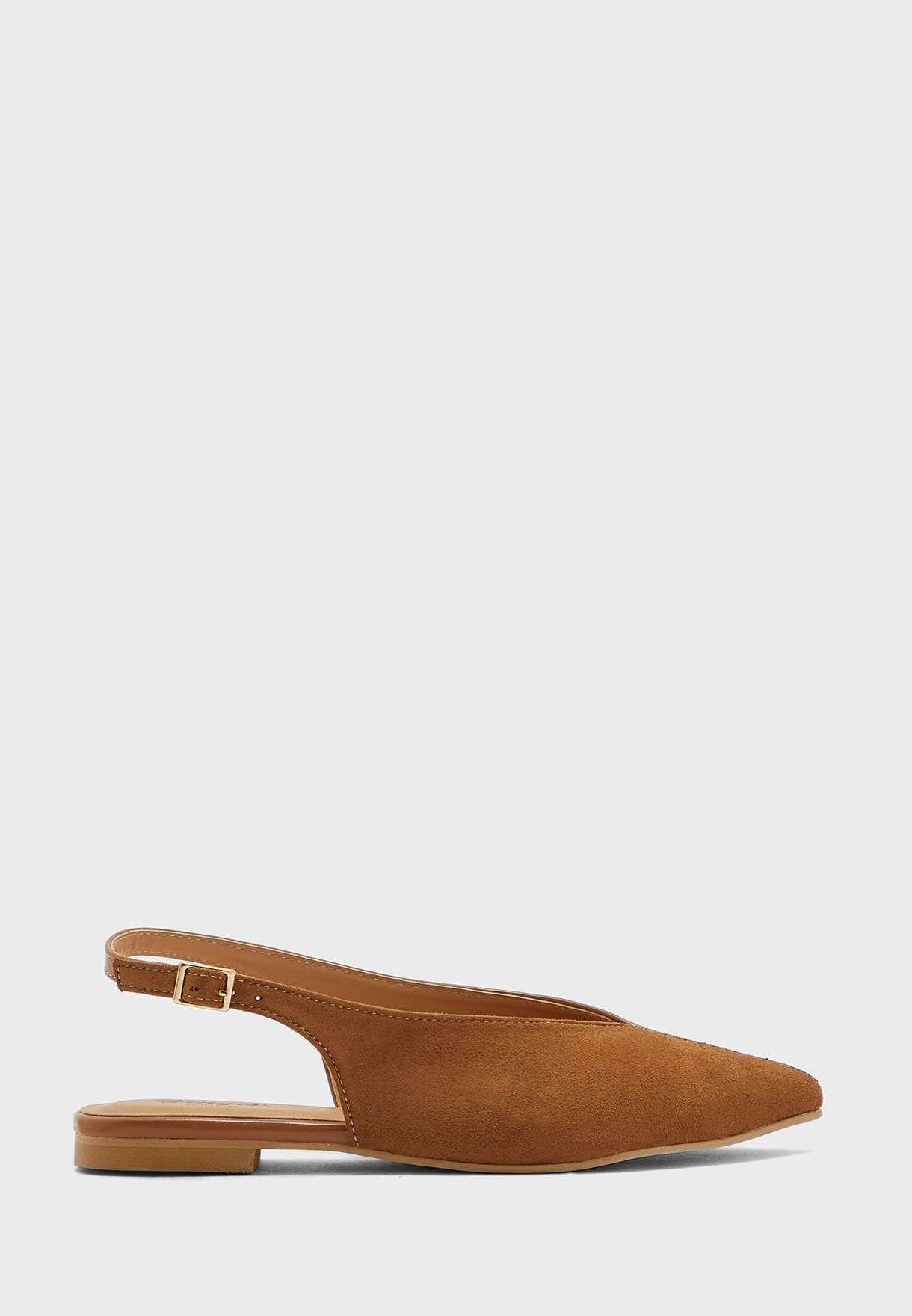 Faux Suede And PU Pointed Slingback Flat Shoe