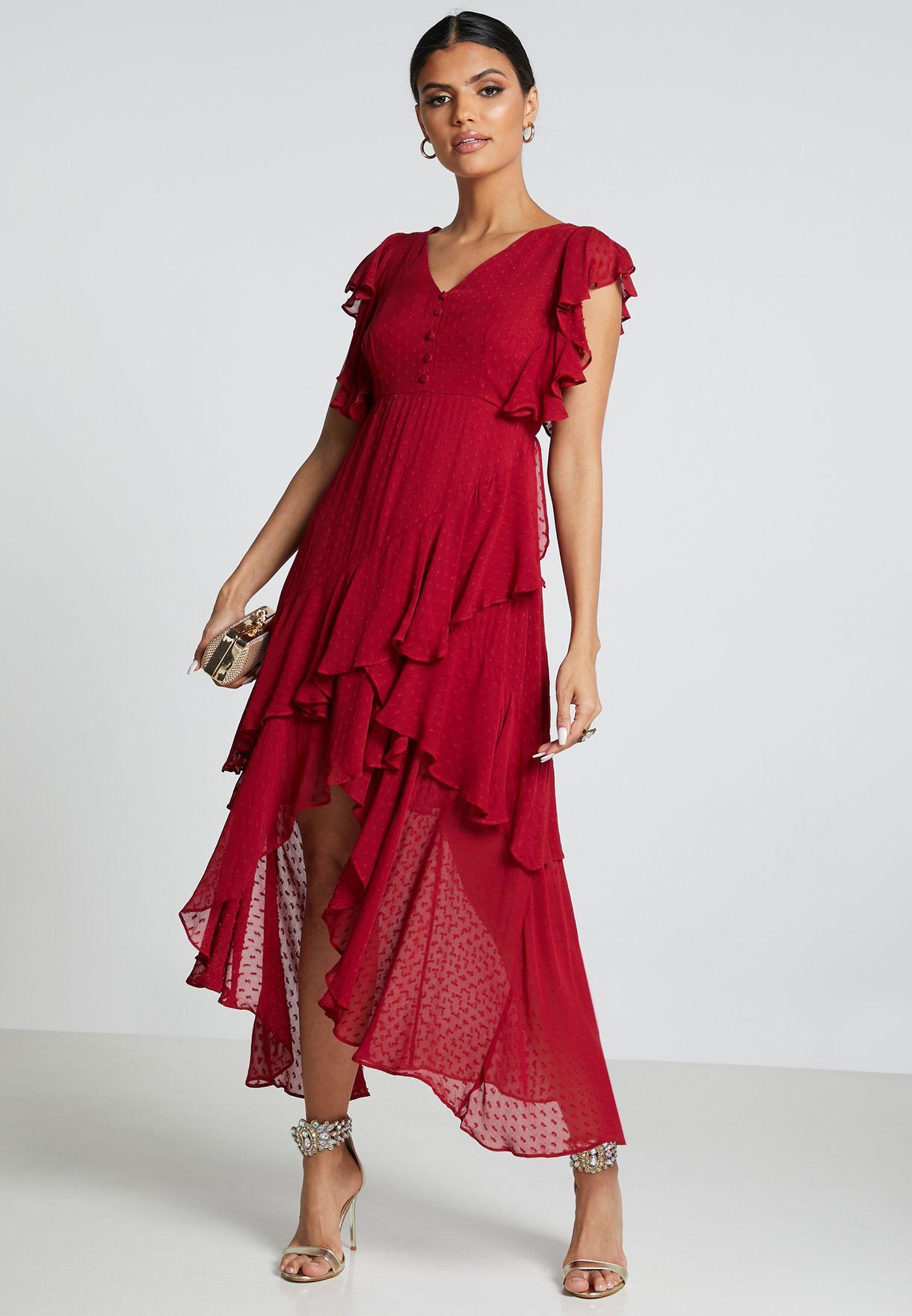 فستان شبك بحواف غير متناظرة