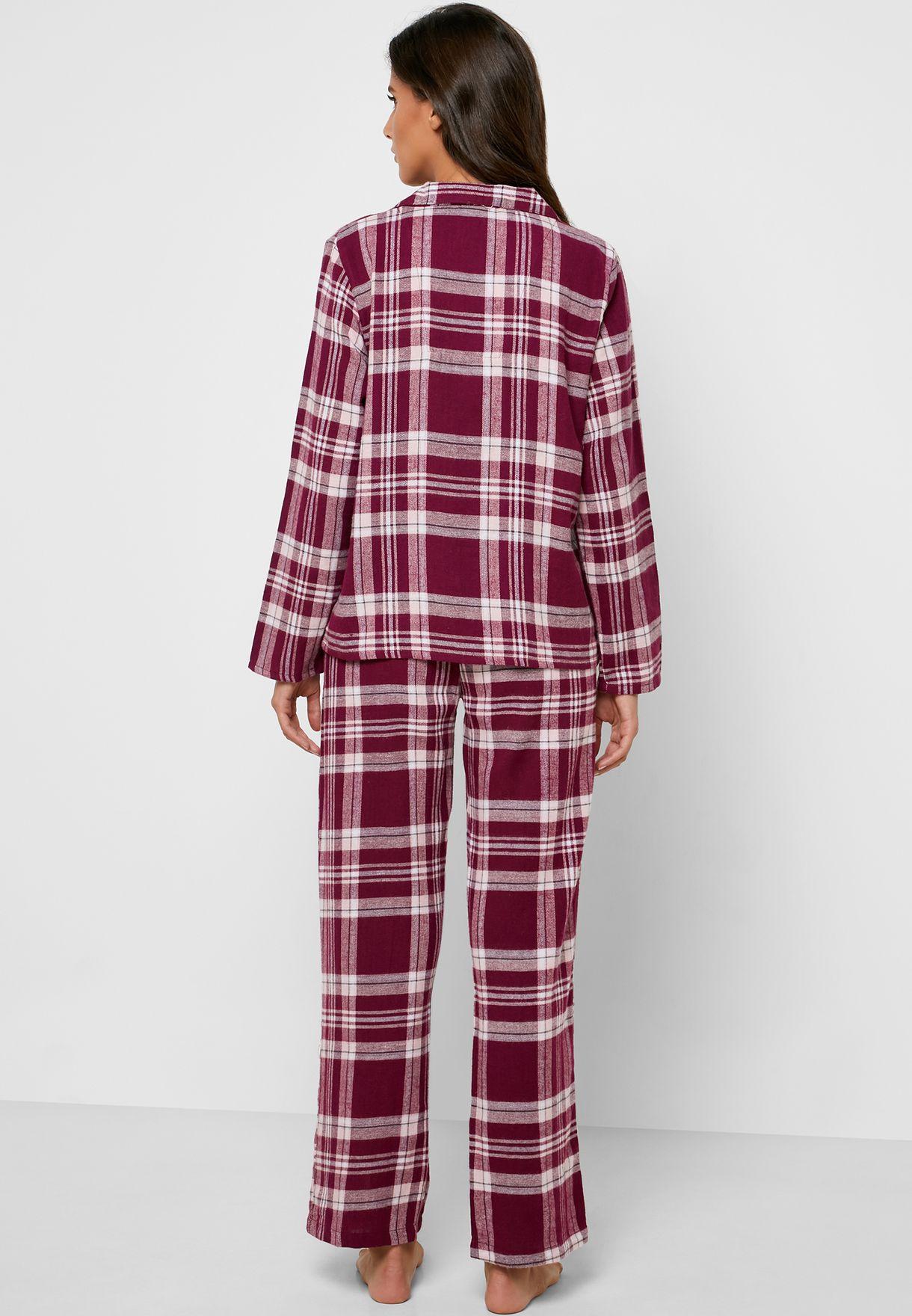 Checked Shirt Pyjama Set w/ Gift Bag