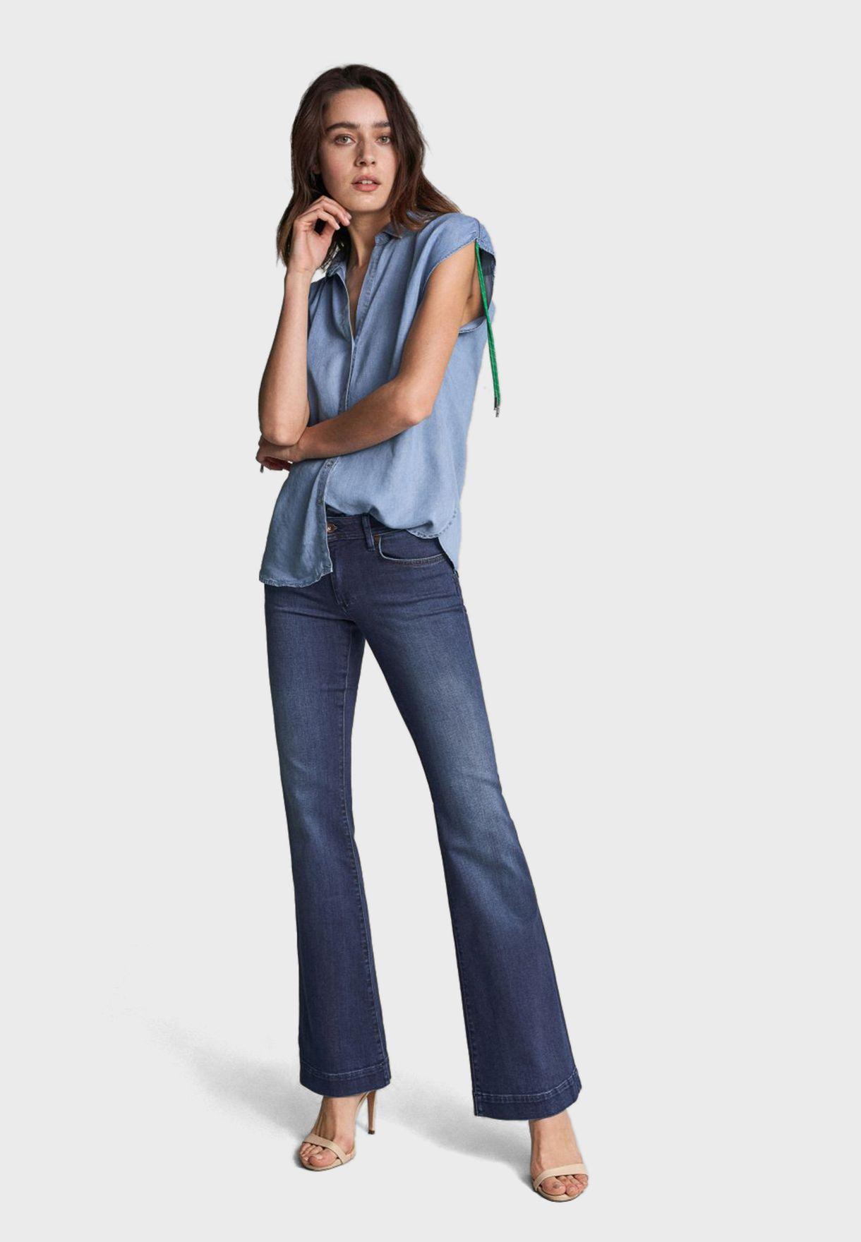قميص جينز مزموم الاكمام مع اربطة