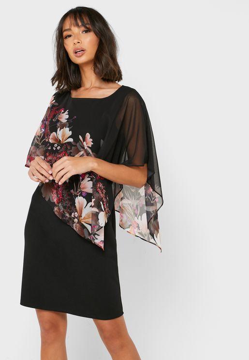 Floral Print Overlay Dress