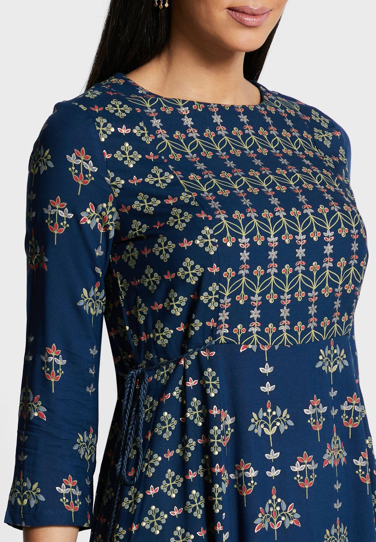 Multi Print Tasselled Tunic