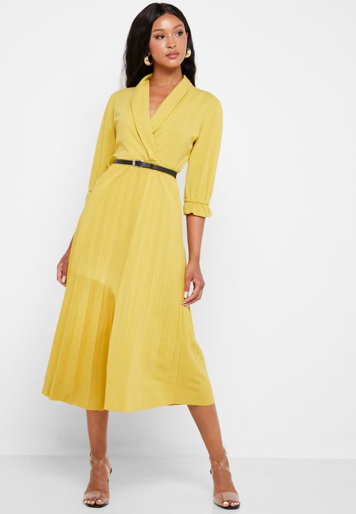 Pleated Skirt Belted Midi Dress