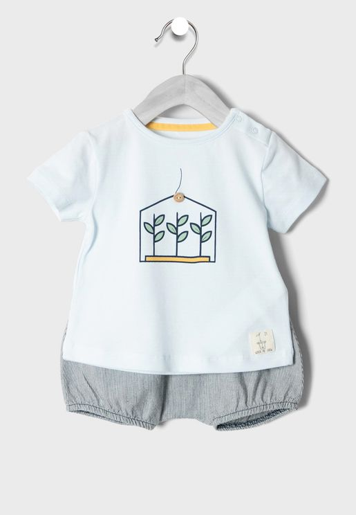 Infant T-Shirt + Striped Shorts Set