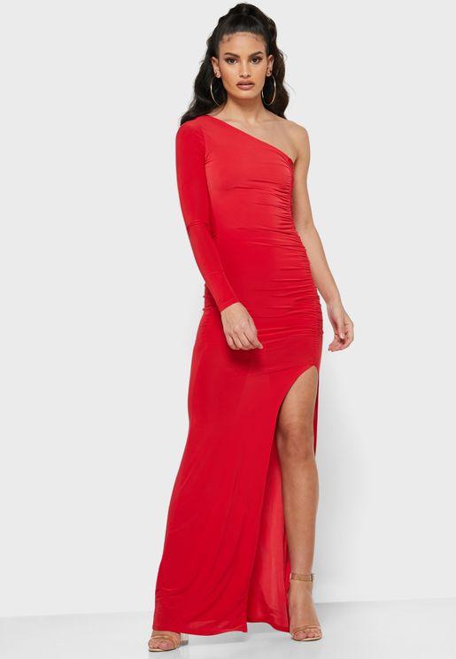 فستان ماكسي مزموم ذو كتف واحد