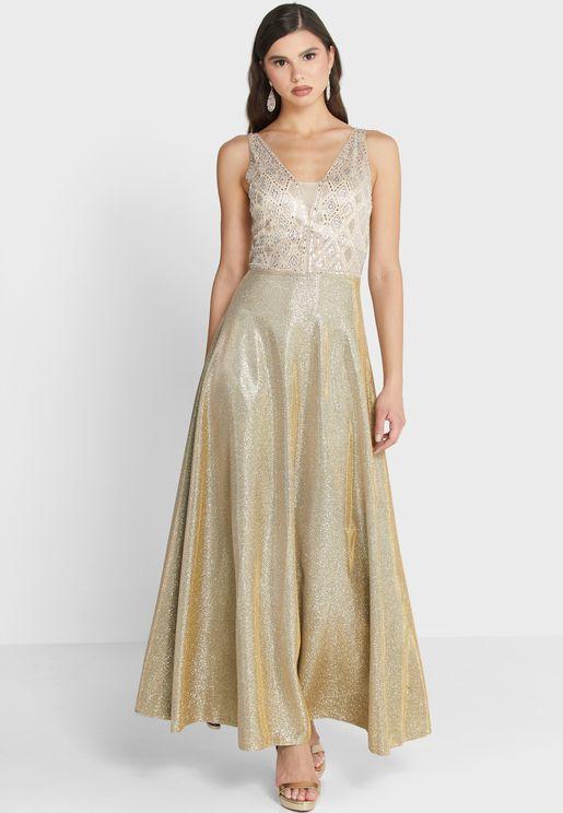 Embellished Detail Shimmer Dress