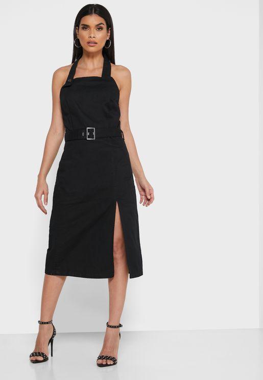 Revive Halter Neck Belted Dress