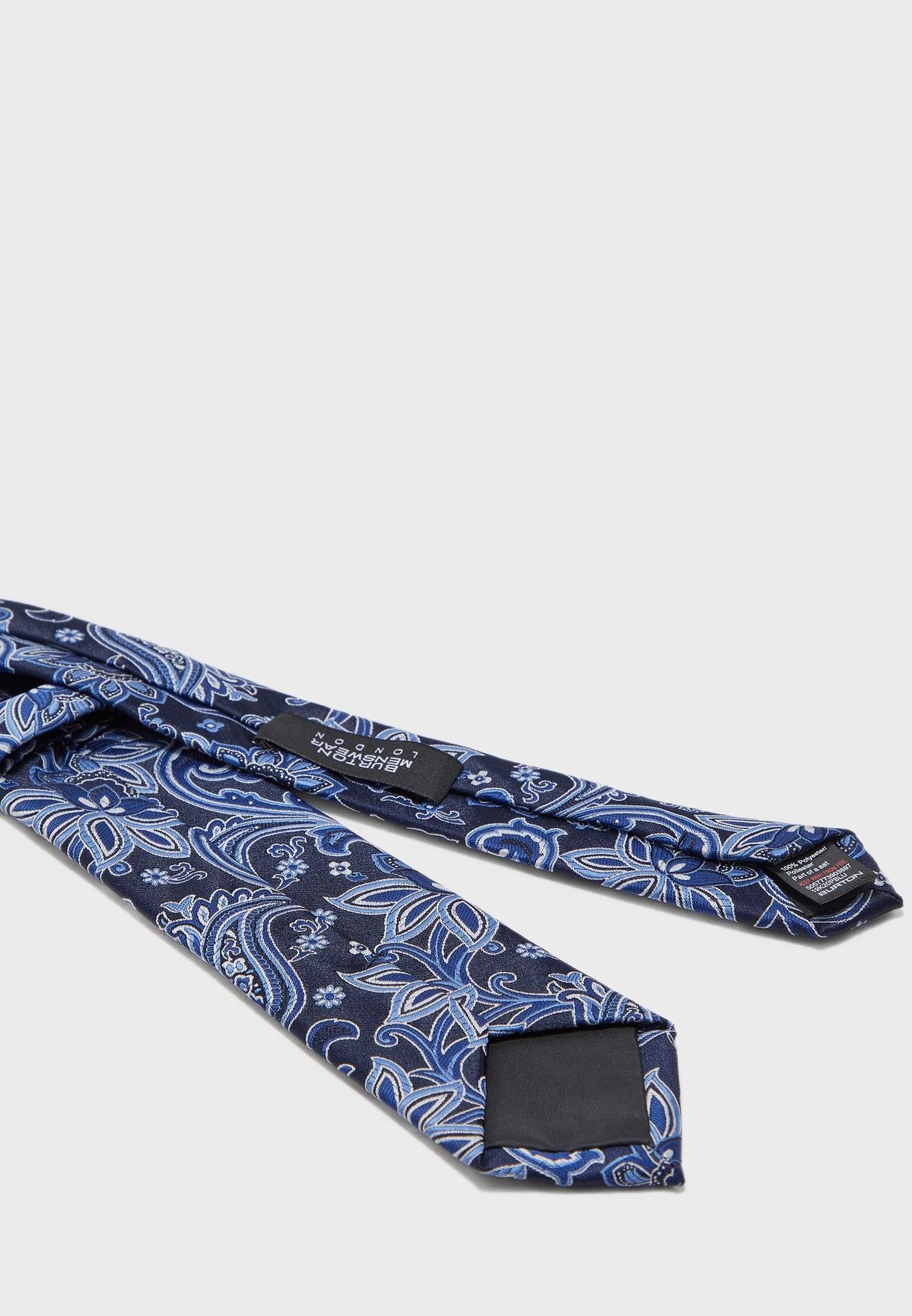 Paisley Print Tie With Pocket Square