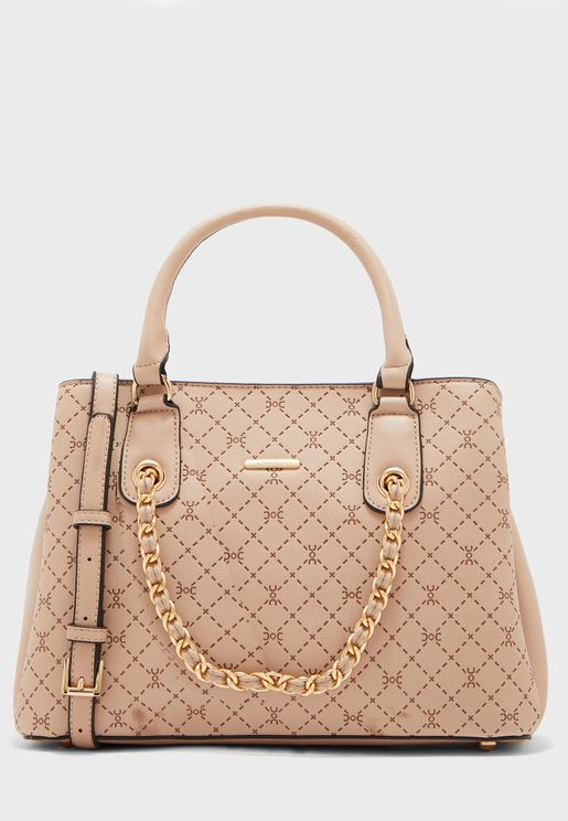 Textured Chain Detail Top Handle Tote