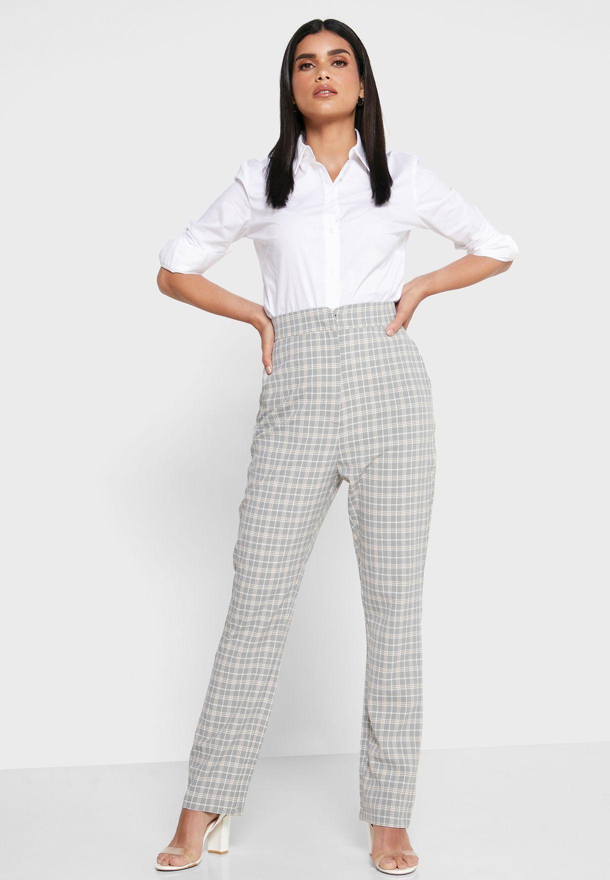 High Waist Checked Pants
