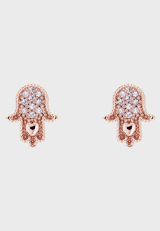 Hermia Hidden Heart Hand Stud Earrrings