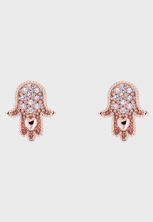 Hermia Hidden Heart Hand Stud Earrrings