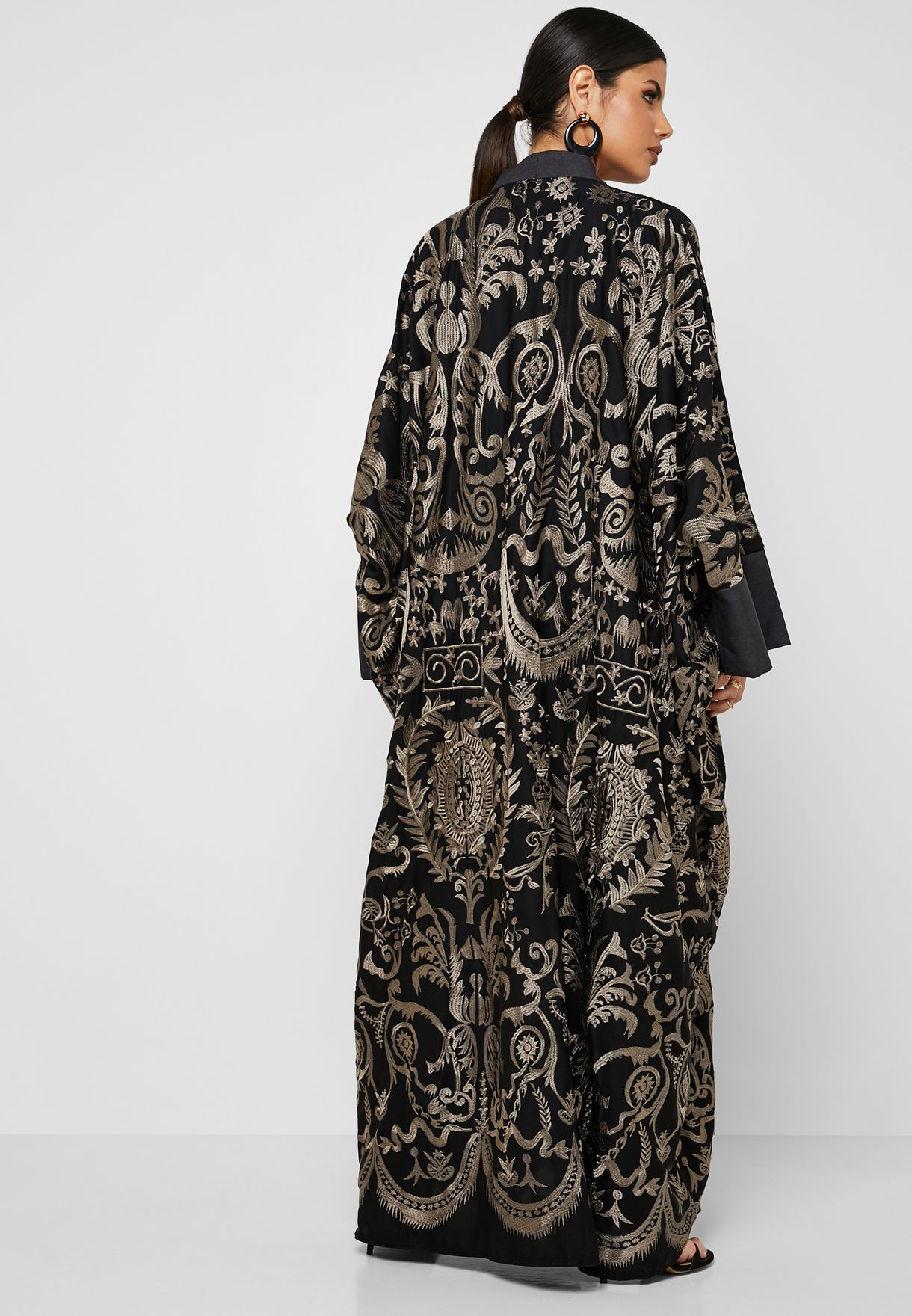 Contrast Embroidered Abaya
