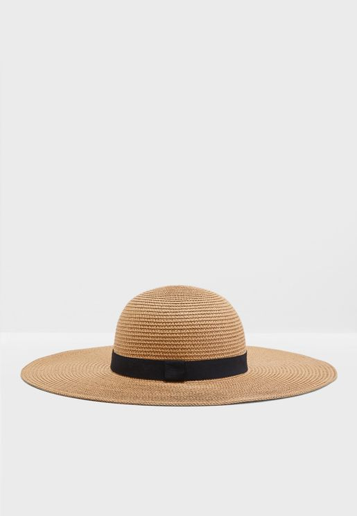 Oversized Wide Brim Hat With Band Detail